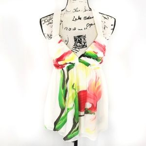 Alice + Olivia White Floral Halter Top Medium